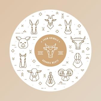 Conceito circular de animais de fazenda.