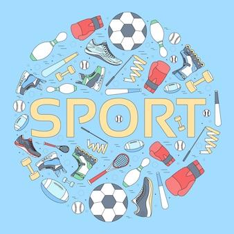 Conceito circular de fundo de equipamentos esportivos.