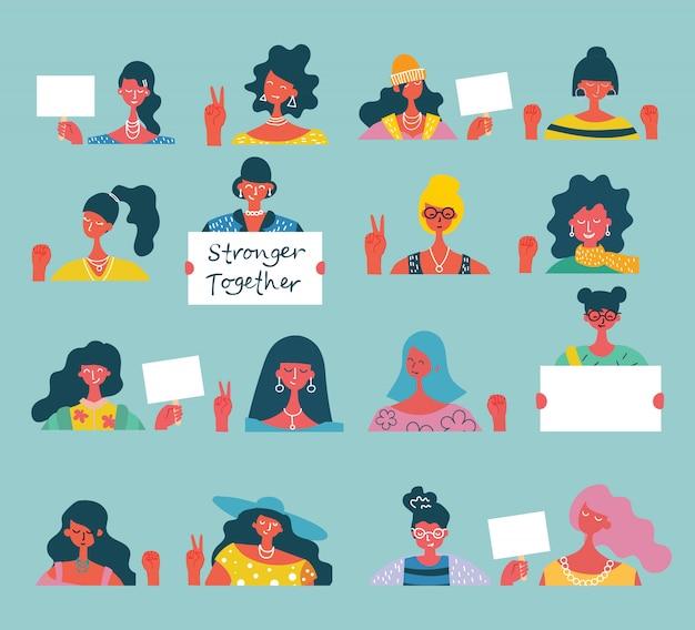 Conceito colorido da ilustração de ativistas felizes das mulheres ou das meninas com bandeiras e cartazes. grupo de amigas, união de feministas, ilustração de irmandade