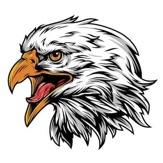 Conceito colorido da mascote de cabeça de águia vintage