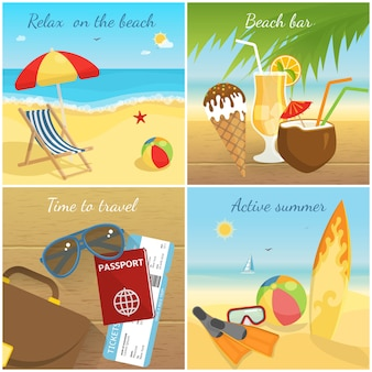 Conceito colorido das férias de verão