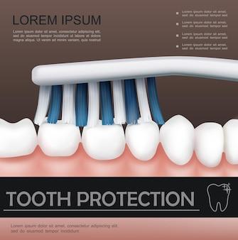 Conceito colorido de atendimento odontológico com processo de escovação de dentes saudáveis em estilo realista