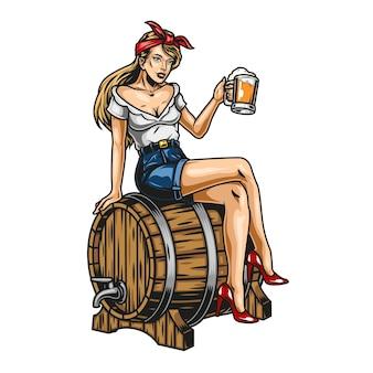 Conceito colorido de cerveja vintage com uma linda garota segurando uma caneca de bebida espumosa e sentada em um barril de madeira isolado