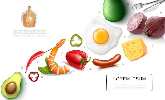 Conceito colorido de comida realista com abacate vermelho e chili peppers, salsichas, queijo, omelete, cebola, garfo, faca