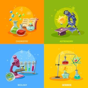 Conceito colorido de disciplinas científicas