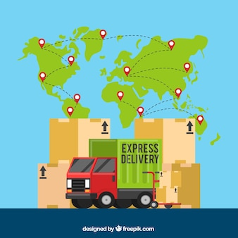 Conceito colorido de entrega internacional