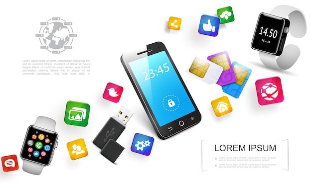 Conceito colorido de gadgets realistas com cartões sim de telefone smartwatches unidade flash usb e ilustração de ícones coloridos de aplicativos móveis,