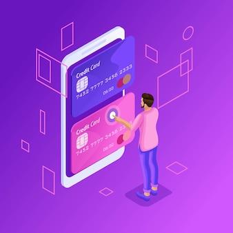 Conceito colorido de gerenciamento de cartões de crédito on-line, conta bancária on-line, homem transferindo dinheiro de cartão para cartão usando smartphone