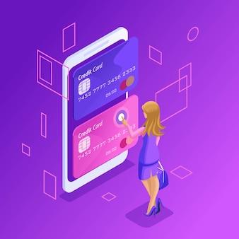 Conceito colorido de gerenciamento de cartões de crédito on-line, uma conta bancária on-line, uma mulher de negócios transferindo dinheiro de cartão para cartão usando um smartphone