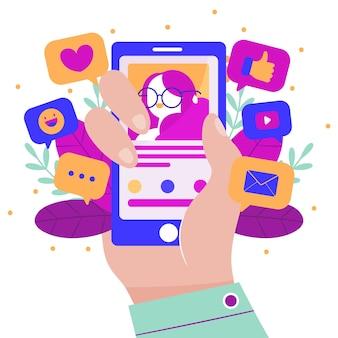 Conceito colorido de marketing de mídia social