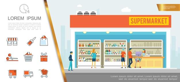 Conceito colorido de supermercado plano