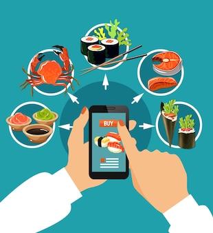 Conceito colorido de sushi empurrando o dedo na tela de toque com ilustração vetorial de ícones redondos