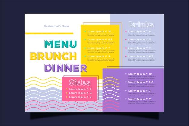 Conceito colorido para o modelo de menu de restaurante