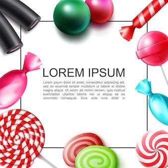 Conceito colorido realista de doces doces com moldura para texto bombons gelatina chicletes pirulitos moldura de alcaçuz