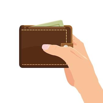 Conceito com mão e carteira cheia de dinheiro. compras online. pago por clique. fazer dinheiro. isolado. ilustração vetorial estilo dos desenhos animados