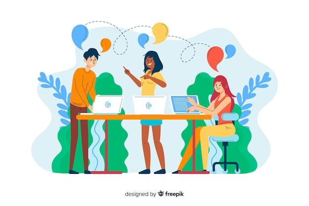 Conceito conectando equipes para landing page