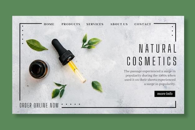 Conceito cosmético de página de destino