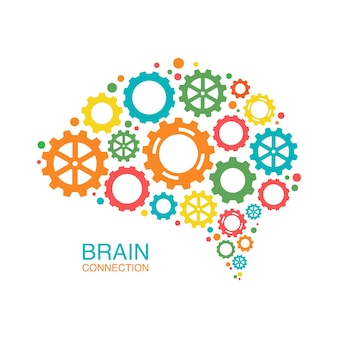 Conceito criativo colorido do cérebro humano