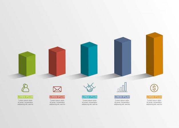 Conceito criativo de apresentação. infográfico de volume 3d.
