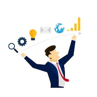 Conceito criativo de ilustração de estratégia de negócios