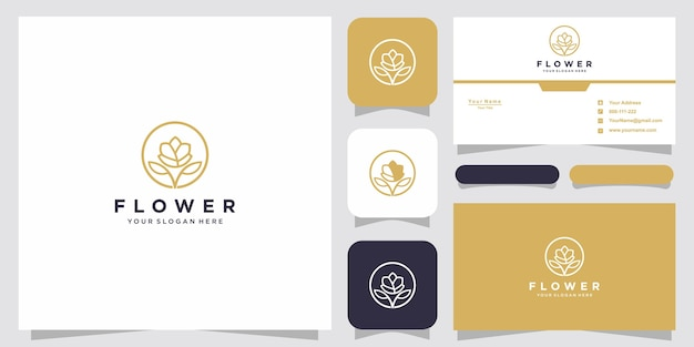 Conceito criativo do logotipo da rosa e design de cartão de visita