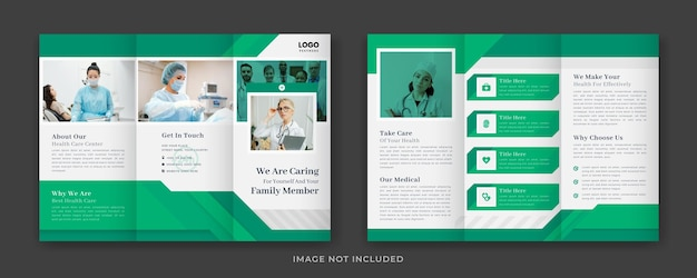 Conceito criativo modelo de folheto de três dobras médicas ou de saúde