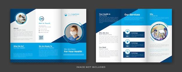 Conceito criativo modelo de folheto médico com três dobras