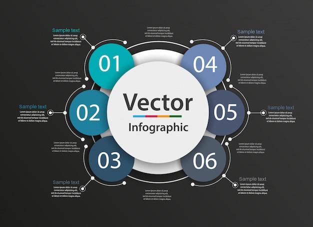 Conceito criativo para infográfico com 6 etapas, opções, partes ou processos