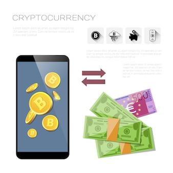 Conceito cripto da tecnologia da moeda da operação bancária móvel do telefone esperto da troca de bitcoin
