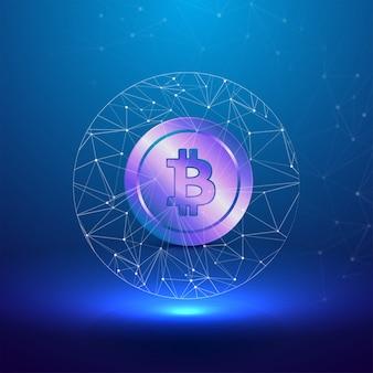 Conceito cryptocurreny com bitcoin roxo brilhante no fundo azul
