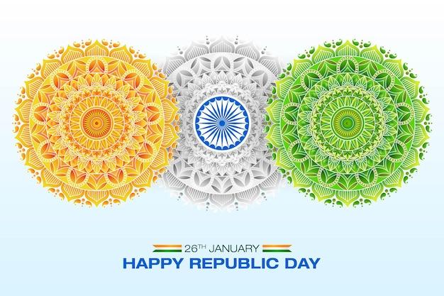 Conceito da bandeira indiana arte da mandala do dia da república