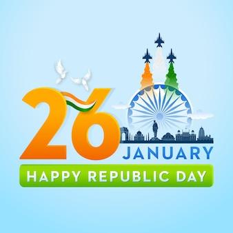 Conceito da bandeira indiana dia da república, 26 de janeiro