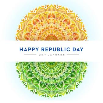 Conceito da bandeira indiana dia da república, trio de cores, mandala design