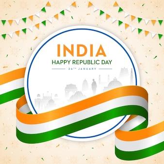 Conceito da bandeira indiana trio de cores do dia da república