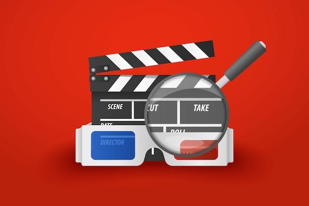 Conceito da busca do filme / cinema com o flapper dos vidros da lente de aumento.