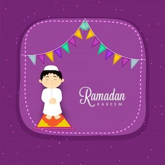 Conceito da celebração do festival de ramadan kareem com rezar muçulmano da criança (namaz de oferecimento).