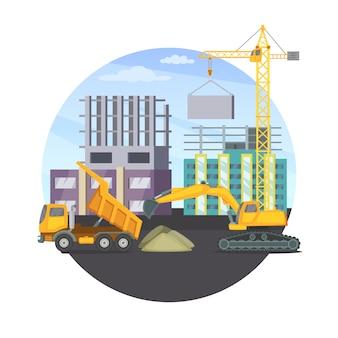 Conceito da construção com edifício moderno inacabado e máquinas pesadas diferentes.