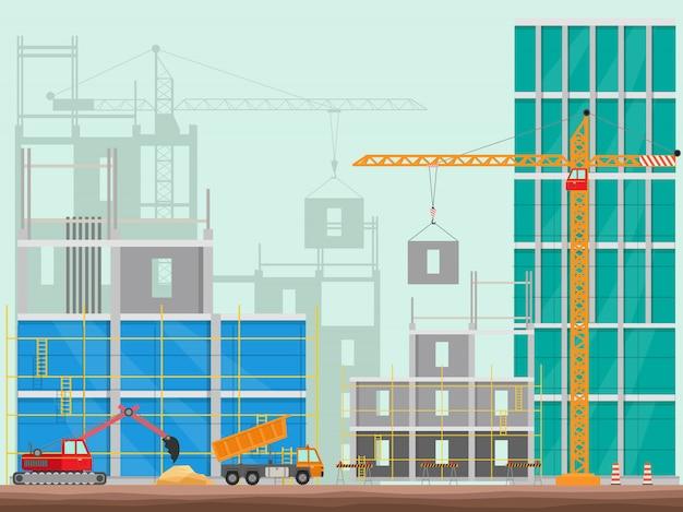Conceito da construção do processo que constrói um fundo da ilustração da casa.