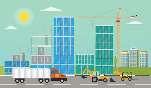 Conceito da construção do processo que constrói uma ilustração do vetor da casa.