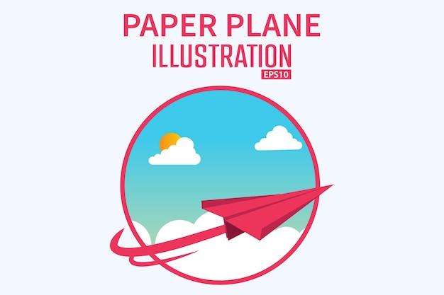 Conceito da ilustração do fundo do avião de papel do cartunista 3d