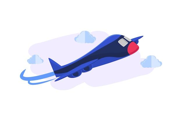 Conceito da ilustração do fundo do avião do cartunista 3d