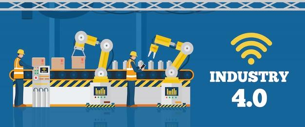 Conceito da indústria 4.0, linha de produção automatizada com trabalhadores.