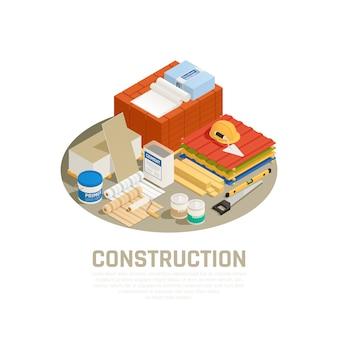 Conceito da indústria da construção civil com ilustração isométrica de equipamentos de construção e reparos