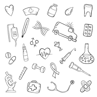 Conceito da indústria de saúde doodle conjunto de coleções desenhadas à mão com ilustração em vetor contorno preto e branco