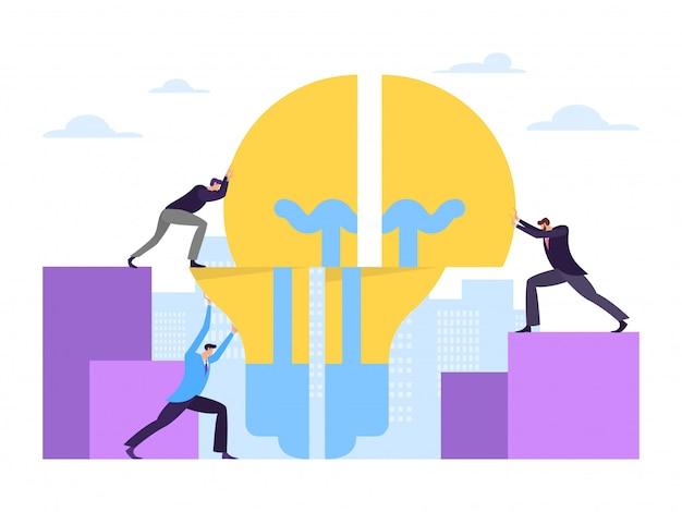 Conceito da indústria energética do trabalho da empresa dos trabalhos de equipa do negócio no fundo branco, ilustração. personagem masculino segurar a lâmpada.