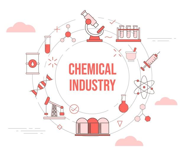 Conceito da indústria química, microscópio, seringa, tanque, átomo, combustível, conjunto de ícones, modelo, círculo, forma redonda