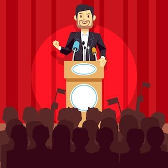 Conceito da liderança do negócio com homem de negócios do orador, político no pódio.