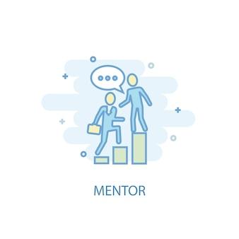 Conceito da linha mentor. ícone de linha simples, ilustração colorida. design plano de símbolo de mentor. pode ser usado para ui / ux