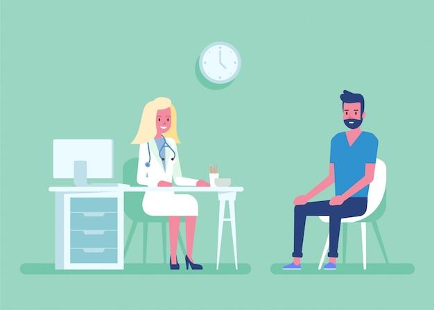 Conceito da medicina com um doutor e um paciente no escritório médico do hospital. consulta e diagnóstico