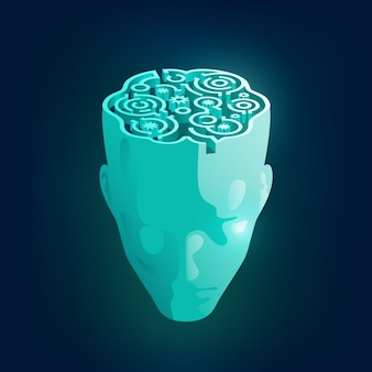 Conceito da mente humana, gráfico de uma cabeça de homem com padrão de labirinto